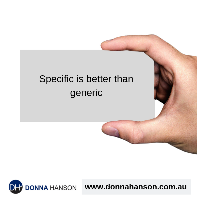 Specific is better than generic